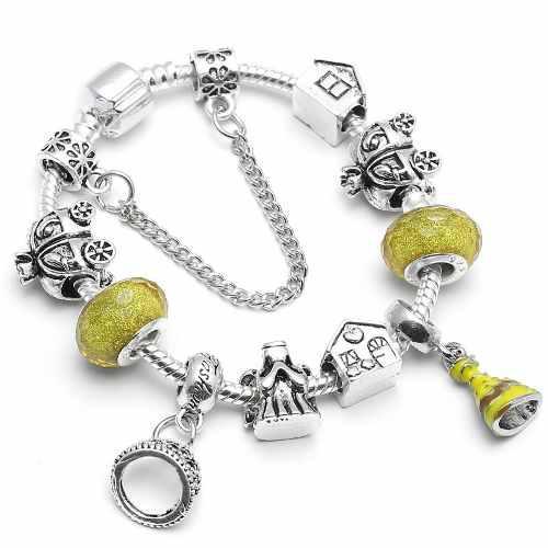 Pulsera de moda disney bella plata 925 con 9 charms