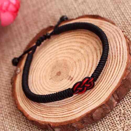 Pulsera tibetana amuleto budista nudo chino macrame negro