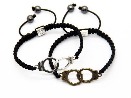 Set 2 pulseras para pareja esposas, 14 de febrero macrames