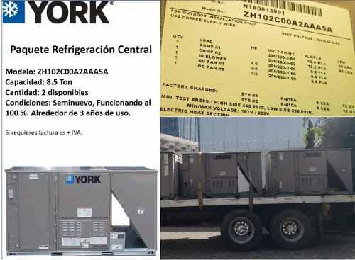 8.5 ton york paquete clima central aire acondicionado frio