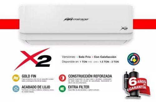 Aire acondicionado minisplit mirage x2 18,000btus 220v.