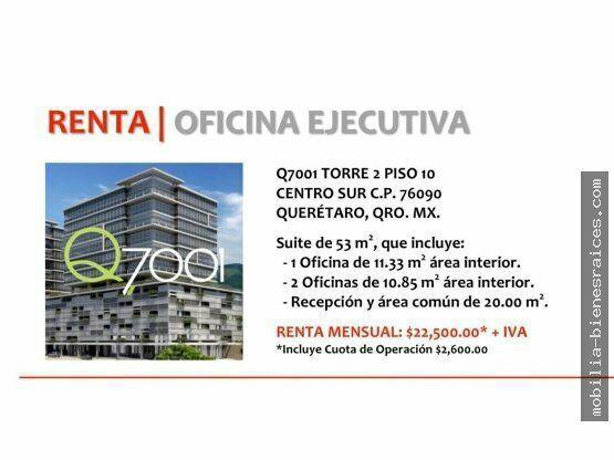 Se renta oficina ejecutiva q7001 torre ii