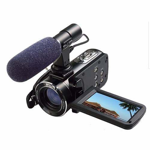 Videocamara full hd digital video camera with external mic,