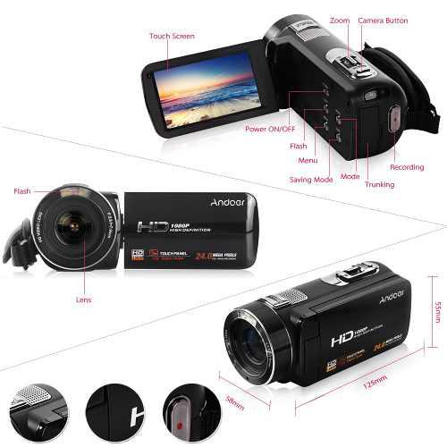 Videocámara digital andoer hdv-z8 1080p full hd cámara