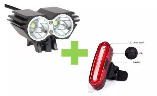Kit luces bicicleta frontal 5000 lumenes + trasera 120 lum
