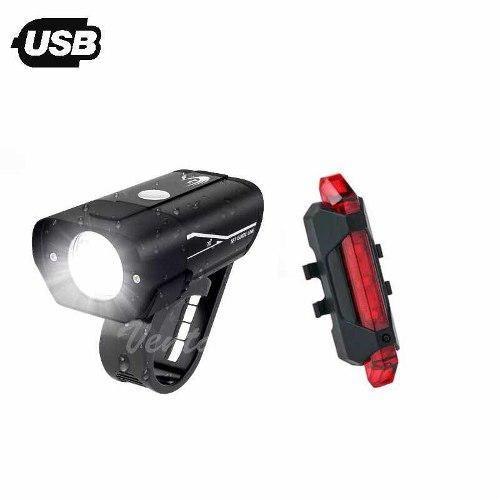 Kit luces led frontal delantera + trasera bicicleta usb rpx