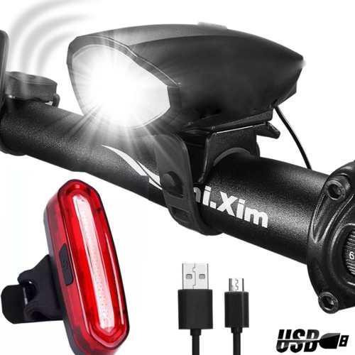 Kit luz bicicleta delantera con cláxon + luz trasera usb c9