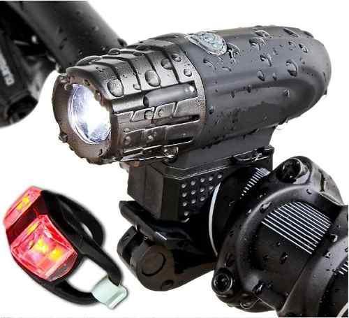 Lampara luz led recargable set combo luz seguridad bicicleta