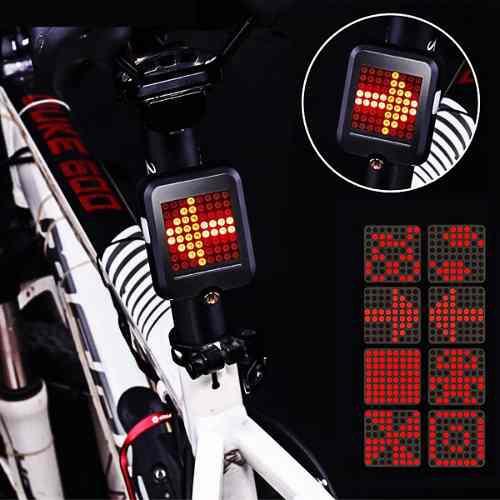 Luz 64 leds trasera inteligente bicicleta usb laser rojo