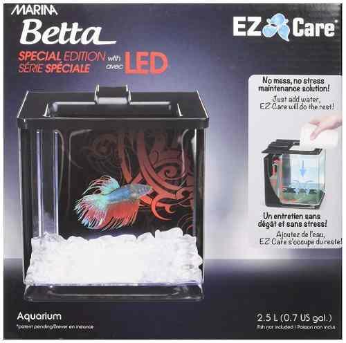 Pecera pez beta acuario con luz 2.6 litros +envio gratis