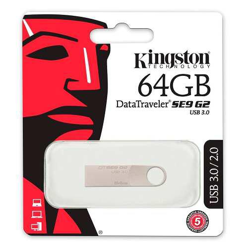 Memoria usb 64gb 3.0 metálica kingston flash dtse9g2/64gb