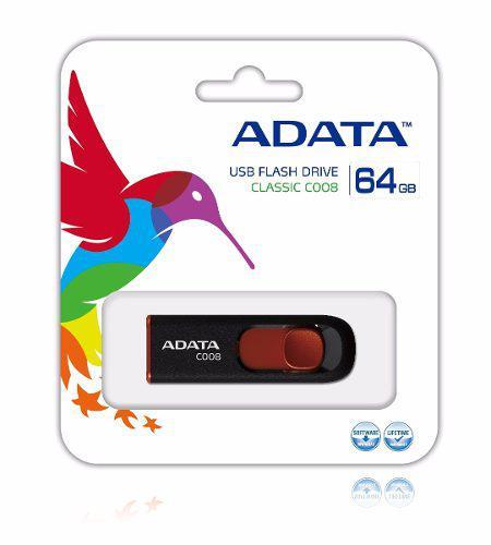 Memorias usb 64gb 2.0 adata c008 negro rojo original nueva