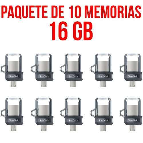 Paquete 10 memorias usb 16gb sandisk sddd3-016g-g46 mayoreo