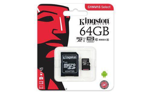 Kingston memoria micro sd hc 64gb clase 10 canvas original +