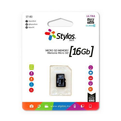 Memoria micro sd 16gb clase 10 celular s/ adaptador stylos