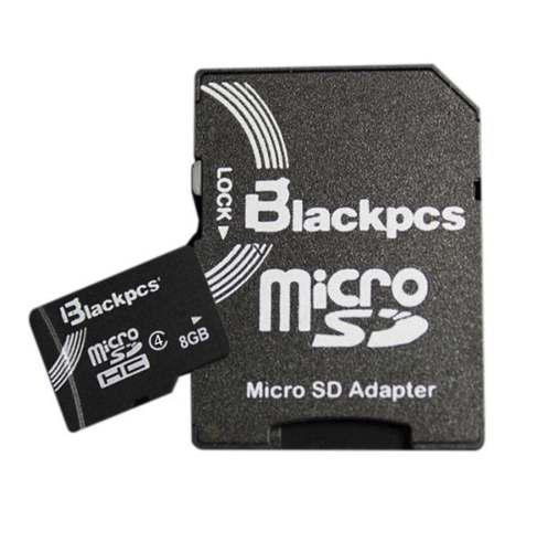 Memoria micro sd blackpcs 8gb c4 con adaptador mayoreo
