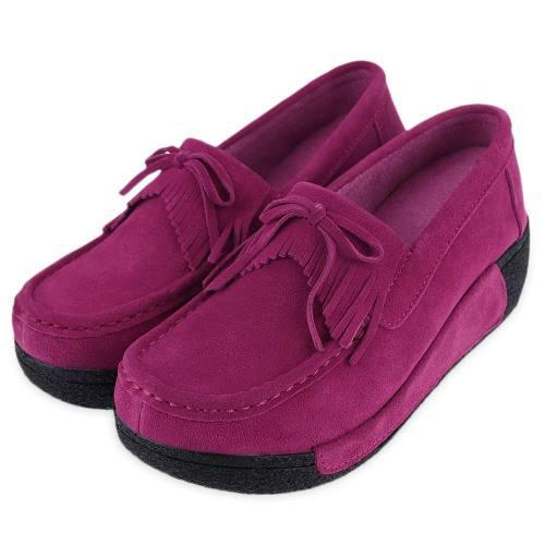Mocasines zapatos con moño y flecos para mujer