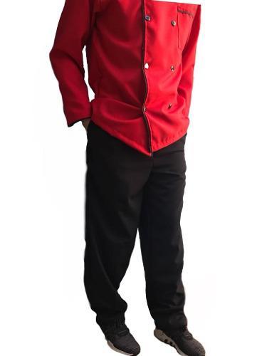 Pantalón de chef, cocina, cocinero, resorte, negro.