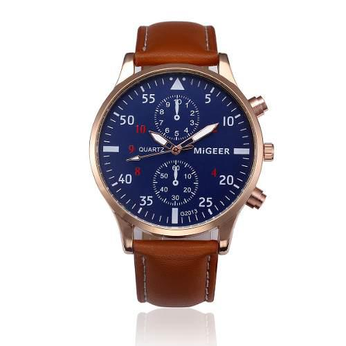 Reloj elegante hombre moda caballero piel vinil jefe migeer