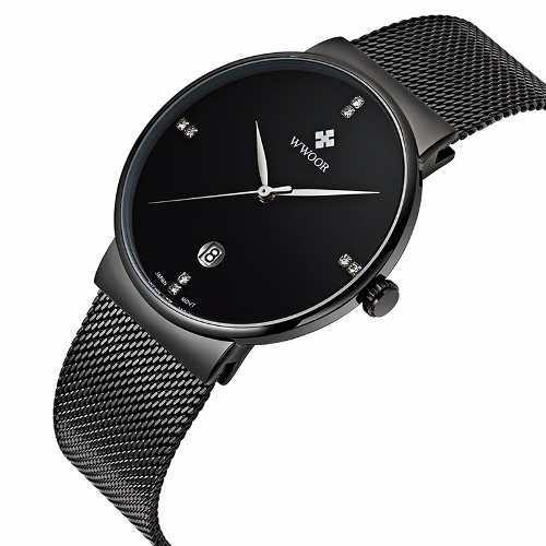 Reloj hombre de lujo wwoor moda elegante caballero cuarzo