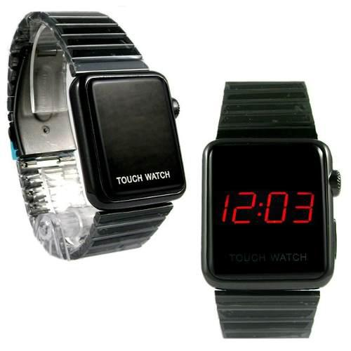 Reloj metálico touch screen led caballero hora fecha
