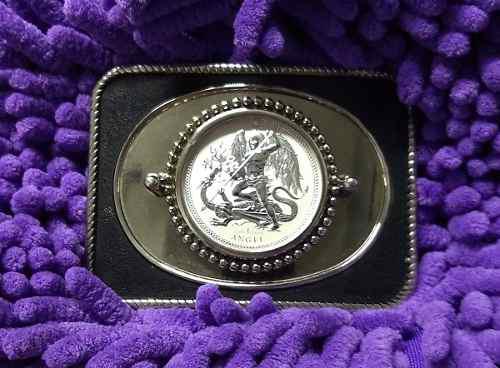 Hebilla,alpaca con moneda de plata pura (ángel/dragón)