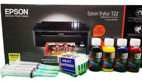 Impresora epson t-22 y cartucho recargable tinta couche esp.