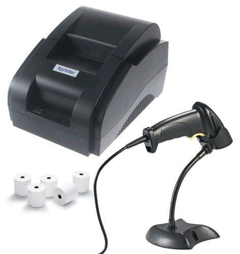 Kit impresora termica 58 mm, lector alambrico base 5 rollos