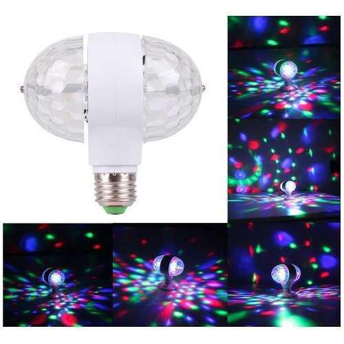 Foco led giratorio doble luces de colores para fiestas