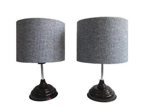 Juego de lampara de buró/ base metálica/ pantalla gris