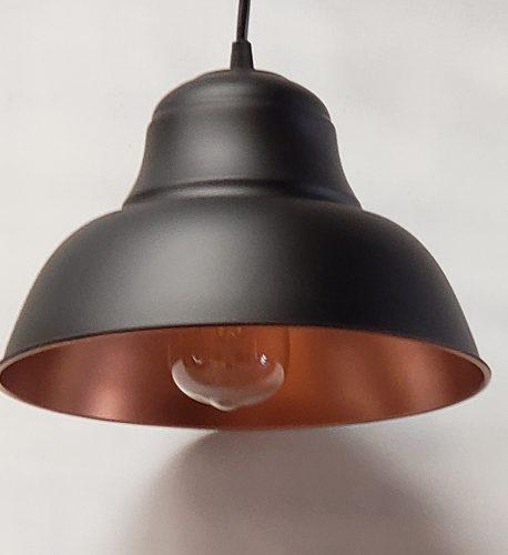 Lampara colgante campana vintage chica negra con cobre