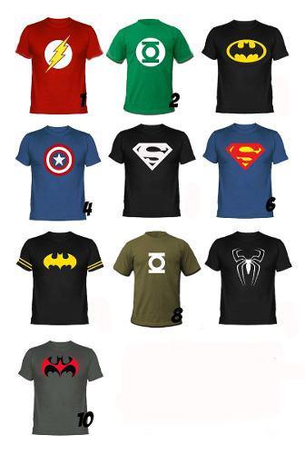 Lote 10 playeras super heroes diferentes marvel dc comics