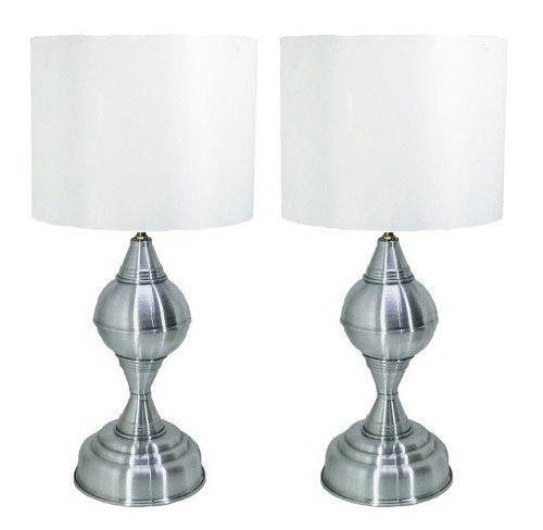Par lampara de buró / pantalla blanca/ esfera plateada