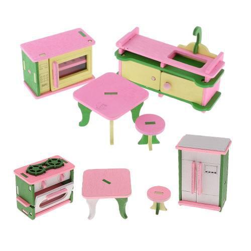 Set de muebles con refrigerador para cocina de muñeca esca