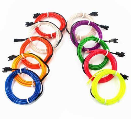 Wire hilo luz neon flexible 3mts colores + controlador 12v