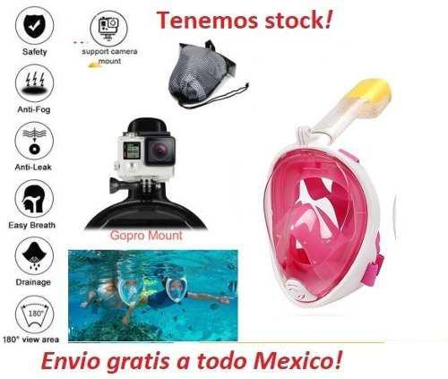 Mascara snorkel free breath con adaptador gopro sj4000 l/xl
