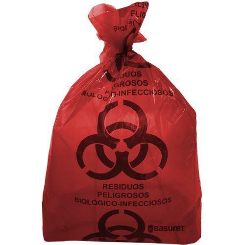 Bolsa roja para bote basura rpbi medida 90x120cm paq c/50 pz