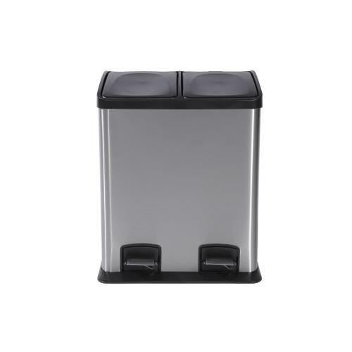 Bote de basura pedal doble compart acero inox red and home