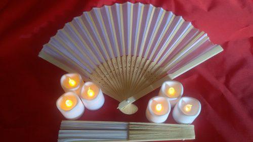 Cien (100) abanicos blancos de tela/bambú xv años boda