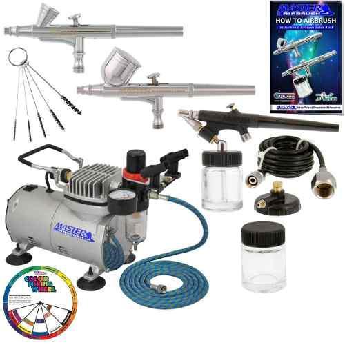 Master airbrush professional 3 kit de aerógrafo y compresor