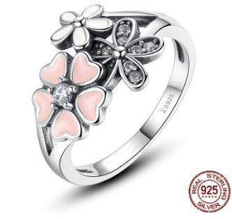 Anillo #8 flor - 925 plata esterlina - zirconia - rosa plata