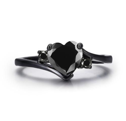 Anillo compromiso corazón cristal negro novia regalo envío
