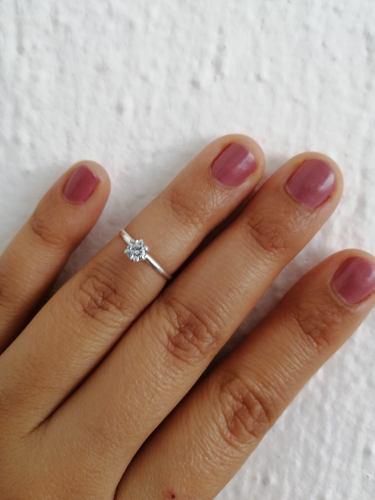 Anillo compromiso de medio dedo para mujer de plata ley.925