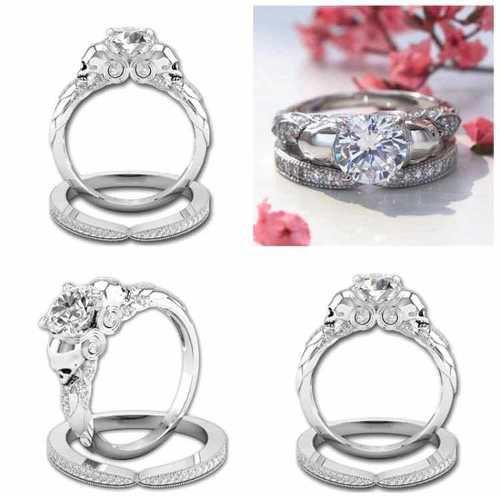 8e8915dfbc82 Anillo promesa matrimonio gótico baño plata corte princesa