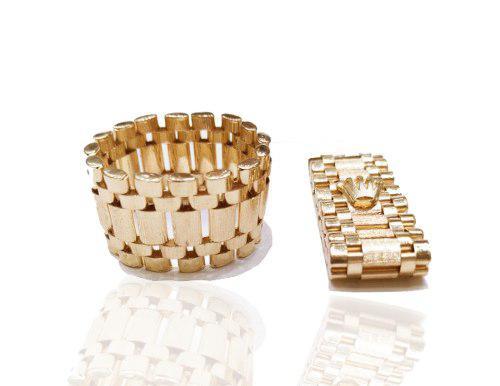 Anillo tejido rolex oro 14 k 1 cm de ancho envio incluido