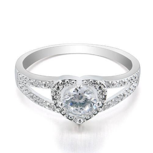 Elegante anillo plata mujer corazón amor de moda ac3
