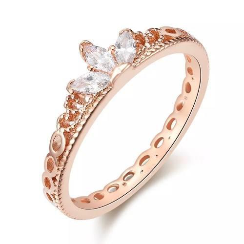 581dcab0ee9f Hermosos anillo corona oro rosa 14k lam con swarovski