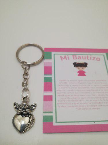 Llavero angelito corazon bautizo incluye celofan y oracion