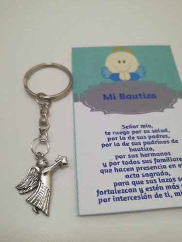 Llavero angelito para bautizo incluye celofan y oracion