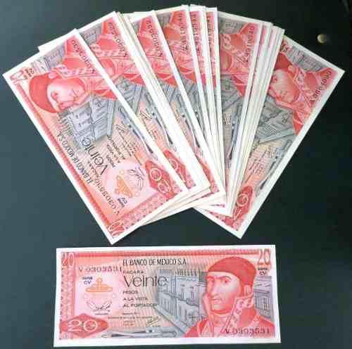 Billete antiguo banco de mexico de 20 pesos nuevos c/u